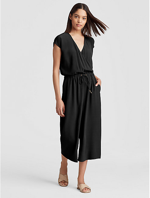 Tencel Viscose Crepe Cropped Wide-Leg Jumpsuit