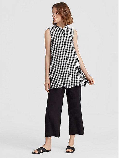 Organic Linen Gingham Mandarin Collar Tunic
