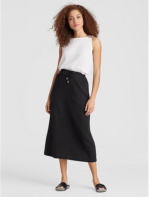 Organic Cotton Gauze Drawstring Skirt