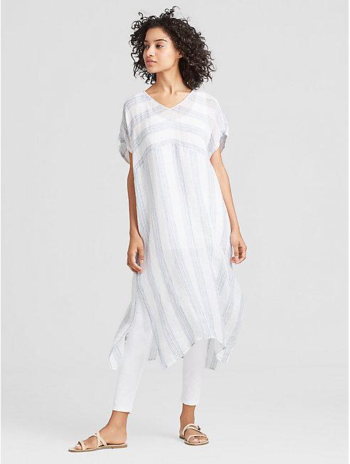 Exclusive Organic Linen Gauze Stripe Caftan