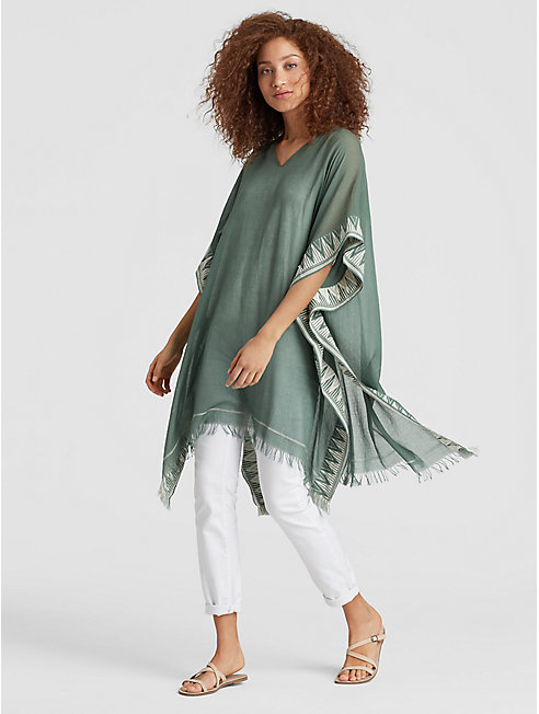 Exclusive Handwoven Organic Cotton Silk Poncho