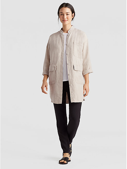 Undyed Organic Linen Long Jacket