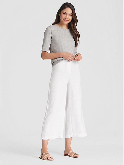 Heavy Organic Linen Cropped Wide-Leg Pant