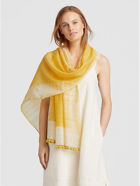 Handwoven Shibori Organic Cotton Silk Scarf