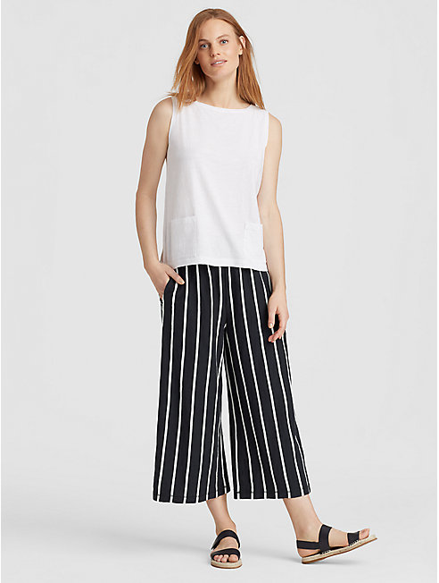 Organic Cotton Stripe Wide-Leg Capri Pant