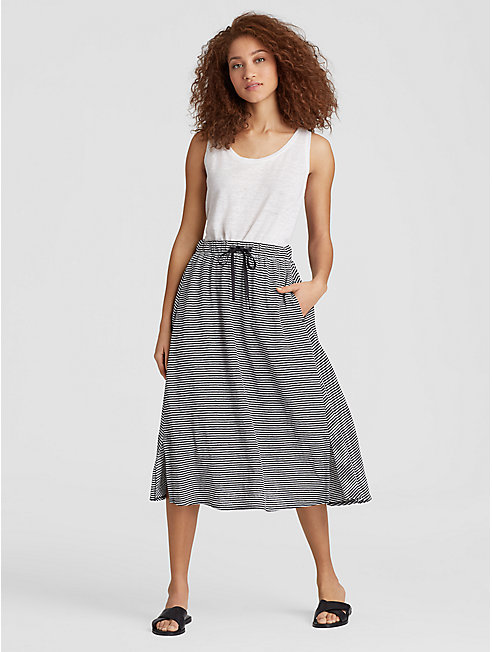 Organic Linen Jersey Stripe A-Line Skirt
