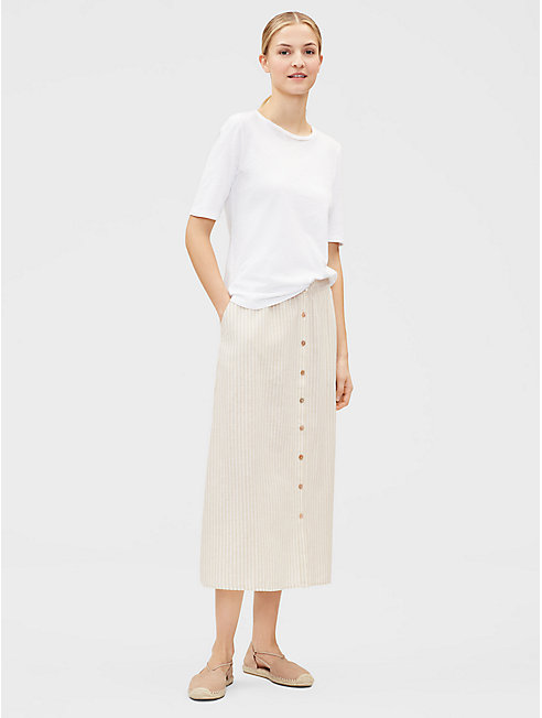 Hemp Organic Cotton Striped Button-Front Skirt