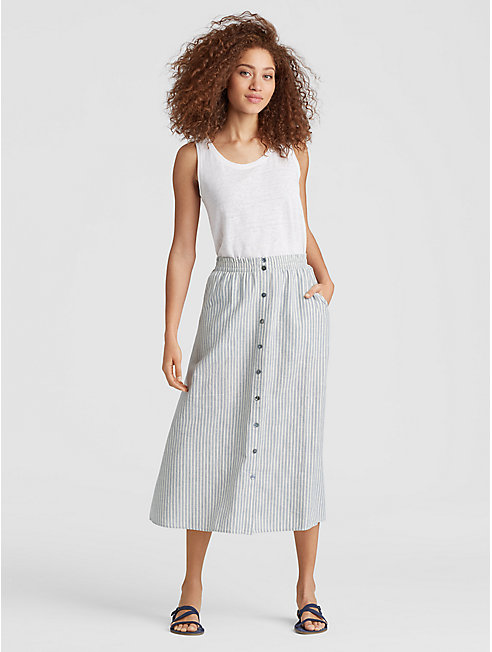 Hemp Organic Cotton Stripe Button-Front Skirt