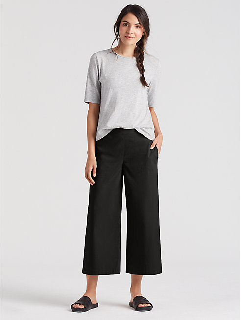 Organic Cotton Poplin Cropped Wide-Leg Pant
