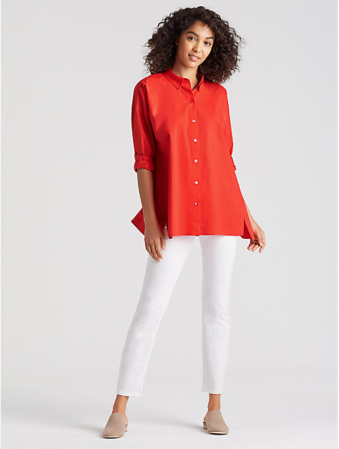 Organic Cotton Poplin A-Line Shirt