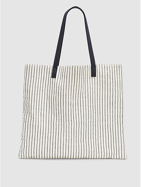 Cotton Canvas Stripe Oversized Tote