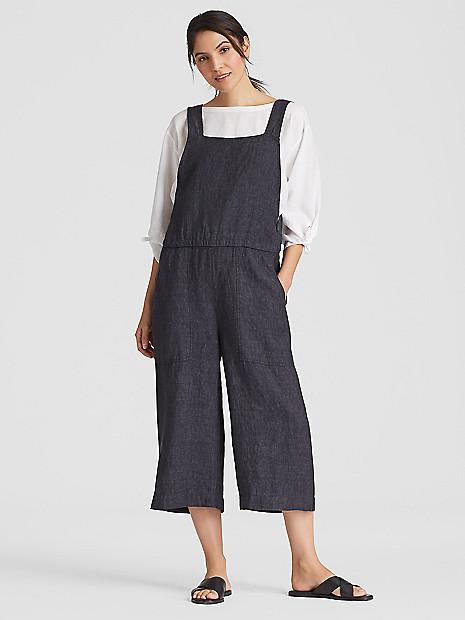 98832883e3b Organic Linen Delave Cropped Wide-Leg Jumpsuit