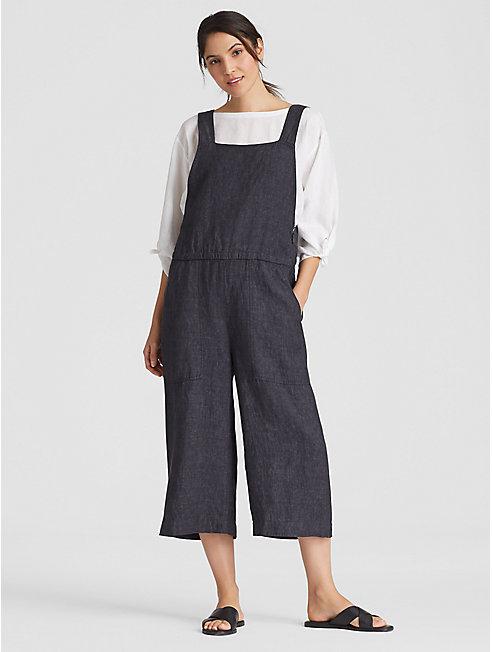 Organic Linen Delave Cropped Wide-Leg Jumpsuit