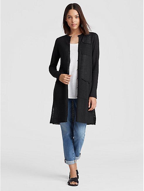 Organic Linen Knit Long Cardigan