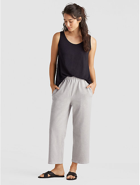 Heathered Organic Cotton Jersey Slouchy Cropped Pant