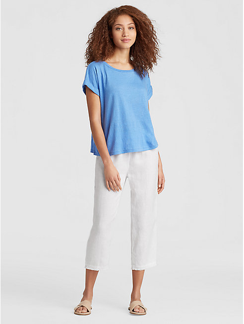 Organic Handkerchief Linen Straight Cropped Pant