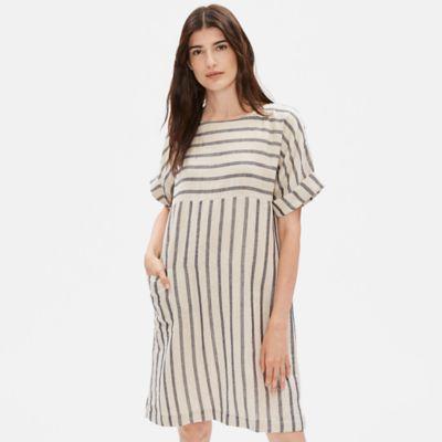 Linen Organic Cotton Doubleweave Striped Dress