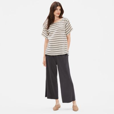 Linen Organic Cotton Doubleweave Striped Top