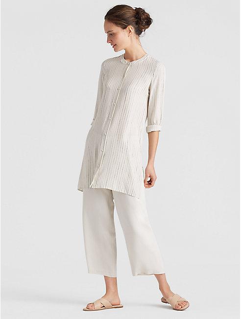 Painterly Stripe Silk Crepe Long Shirt