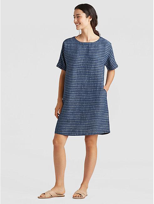 Organic Linen Delave Pinstripe Boxy Dress