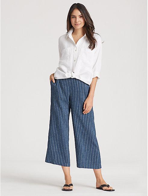 Organic Linen Delave Pinstripe Cropped Wide-Leg Pant
