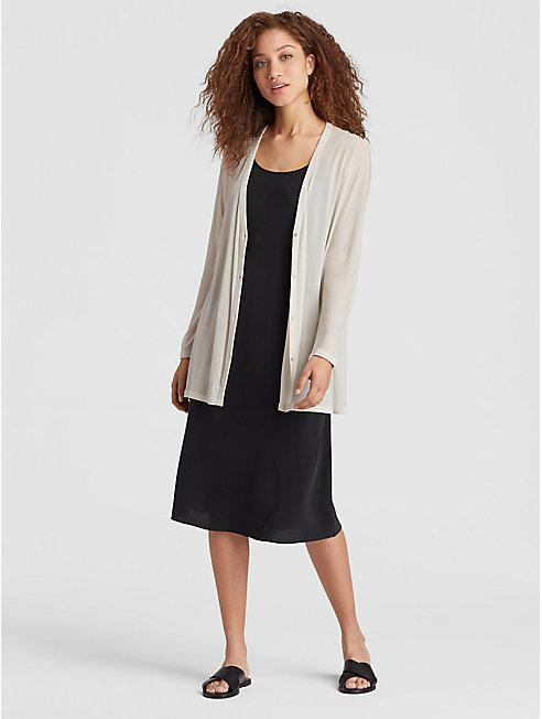 Sheer Silk Jersey V-Neck Cardigan