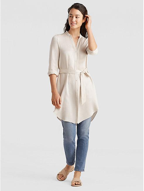 Sandwashed Silk Charmeuse Shirt Dress