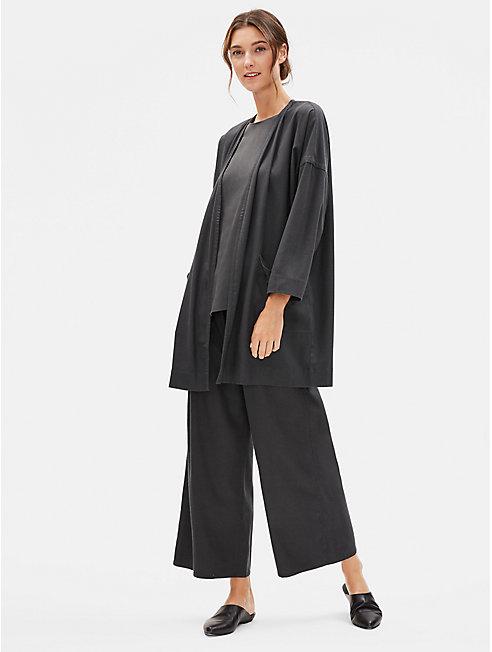 Silk Noil Long Kimono Jacket
