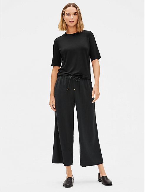 Silk Noil Cropped Wide-Leg Pant