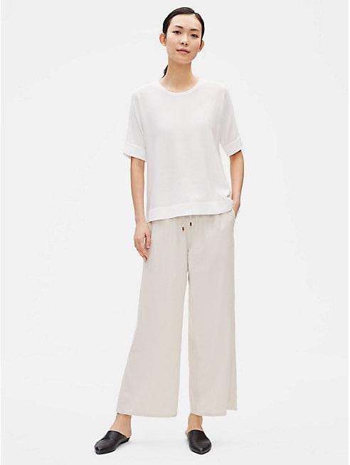 Silk Noil Wide-Leg Pant