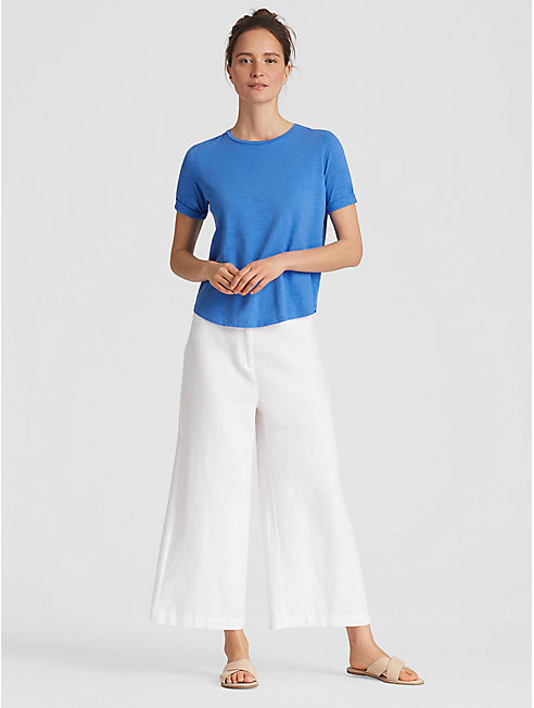 Organic Cotton Jersey Slub Elbow-Sleeve Top