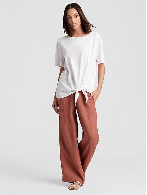 Organic Cotton Jersey Slub Tie-Front Tee