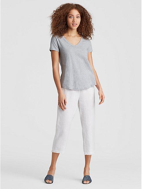 Organic Cotton Jersey Melange Shirttail Tee