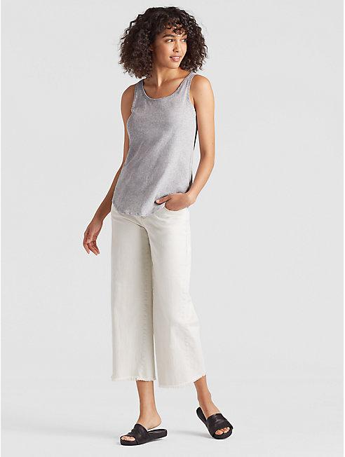 Organic Cotton Jersey Melange Shirttail Tank