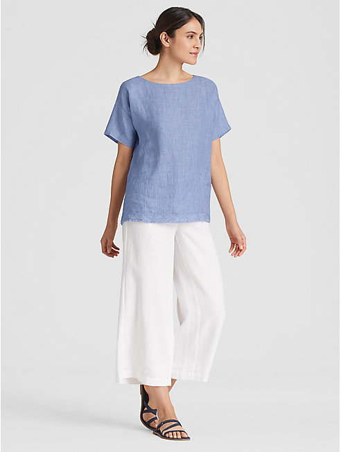 Organic Linen Slub Check Top with Raw Edge