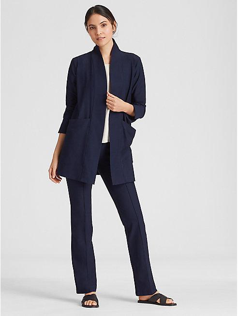 Washable Stretch Crepe Long Kimono Jacket