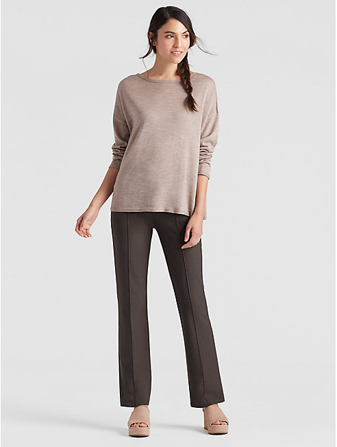 Washable Stretch Crepe Boot-Cut Pant