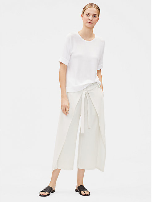Washable Stretch Crepe Tie-Front Cropped Pant