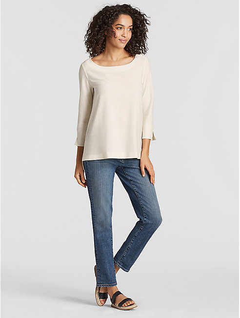 Lightweight Washable Stretch Crepe A-Line Top