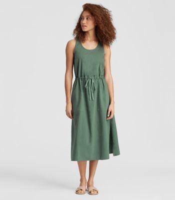 Soft Organic Cotton Twill Drawstring Dress