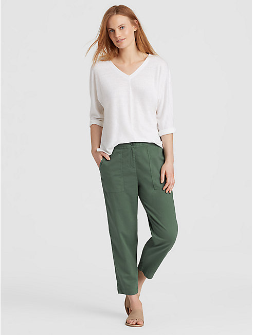 Soft Organic Cotton Twill Cropped Pant