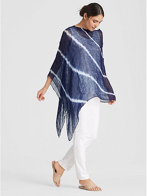 Exclusive Organic Linen Shibori Orbit Poncho