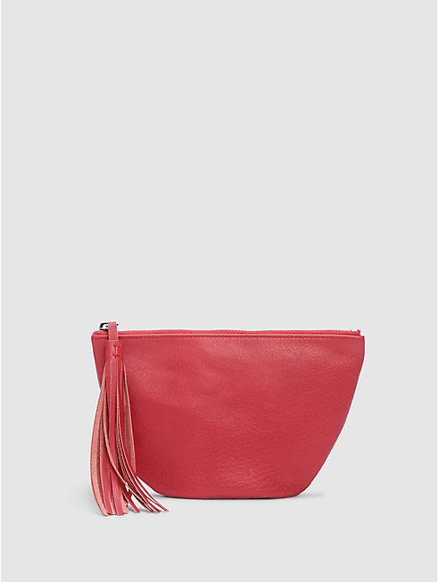 Italian Leather Round Tassel Pouch