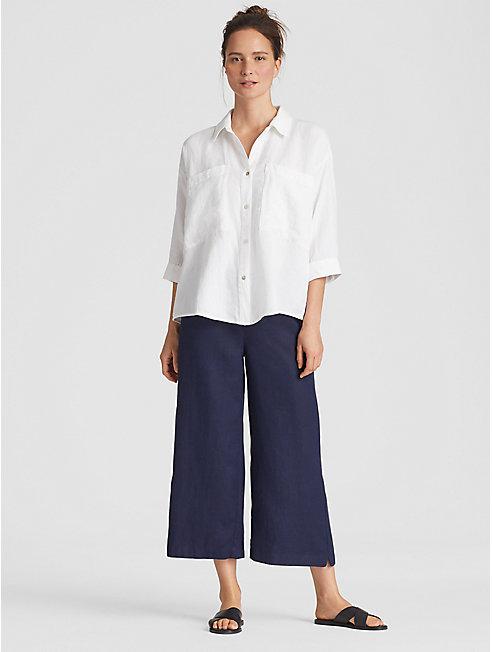 Organic Linen Tencel Crepe Boxy Shirt