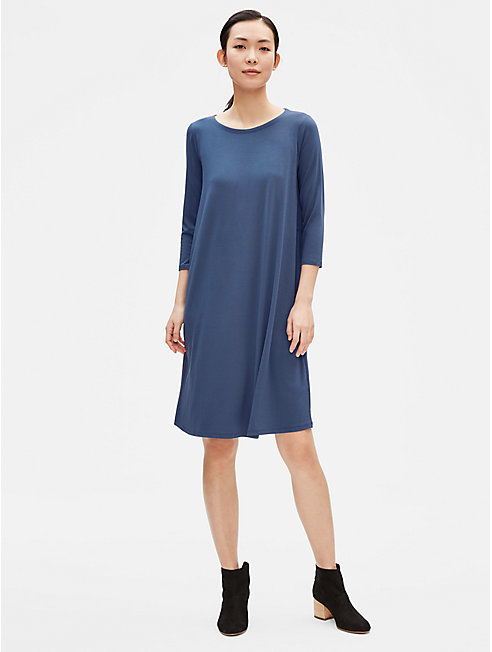 Viscose Jersey Dress with Back Drawstring