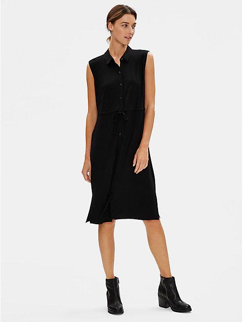 Lightweight Viscose Jersey Shirt Dress