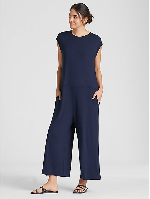 Lightweight Viscose Jersey Cap-Sleeve Jumpsuit