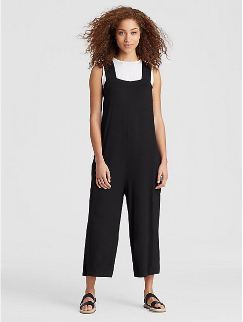 Lightweight Viscose Jersey Cropped Jumpsuit