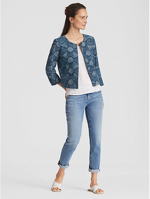 Hand-Printed Indigo Organic Cotton Jacket