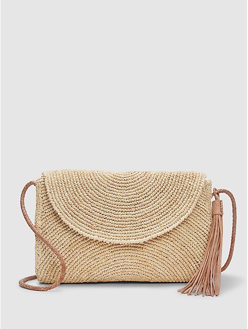 Mar Y Sol Crocheted Raffia Leah Shoulder Bag